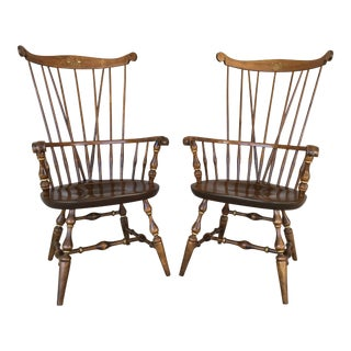 Nichols & Stone Paint Decorated Windsor Comb Back Arm Chairs - a Pair For Sale