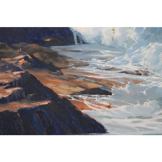 "Canvas Oil on Canvas, ""Shore Line at High Tide"" Large Scale Painting by Robert P. Wheeler For Sale - Image 7 of 11"