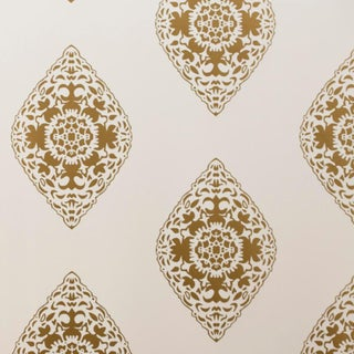Boteh Gold & White Wallpaper