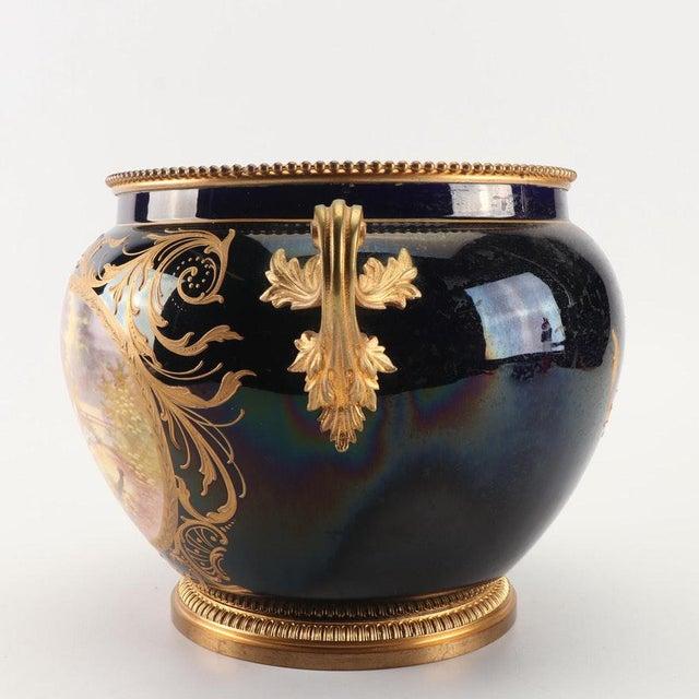 1800s Sevres-Style Cobalt Blue Porcelain & Gilded Bronze Jardiniere For Sale - Image 4 of 12