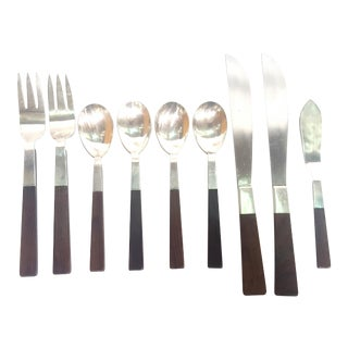 Adra Sterling Silver Rosewood Flatware Set by Adolph Tischler (1917-2015) For Sale