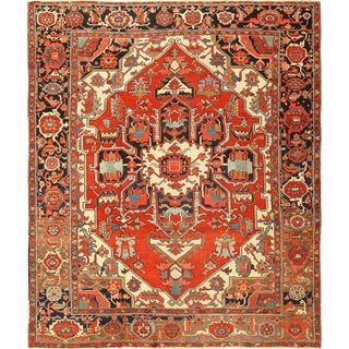Room Size Antique Serapi Persian Rug - 10′2″ × 11′10″ For Sale