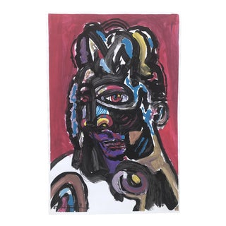 Original Contemporary Pop Art Abstract Portrait Painting Signed For Sale