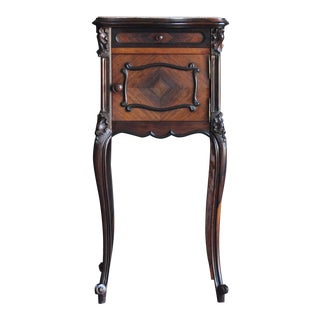 Antique French Rococo Marble Top Nightstand For Sale