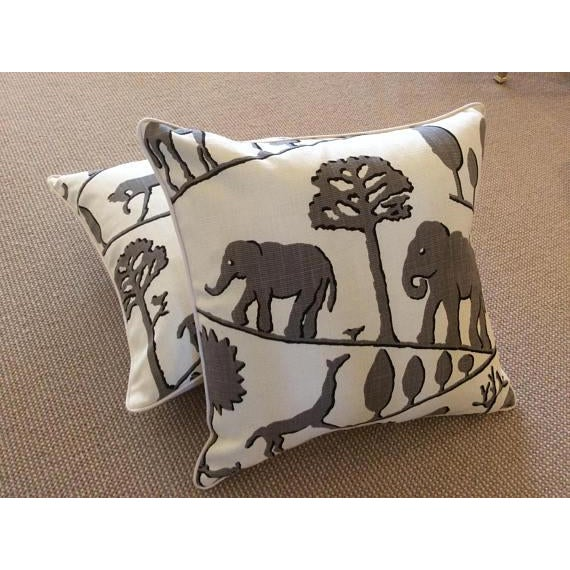 Fabulous woven in sophisticated gray and off white. Jungle walk features all your favorite zoo animals---fabric is a linen...