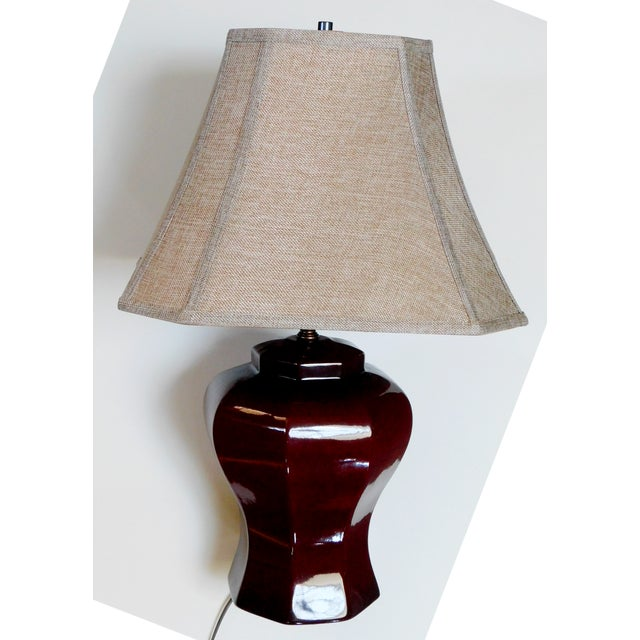 Mid-Century Deep Umber Lamp For Sale - Image 9 of 9