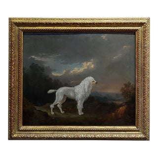 18th Century Portrait of a White Poodle in a Landscape-Oil Painting C.1780/1800 For Sale