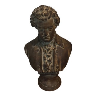 1960s Vintage French Mozart Bust Bronze