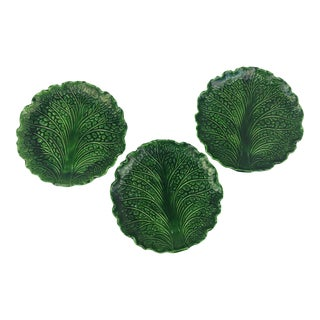 Vintage Majolica Cabbage Leaf Plates Unmarked - Set of 3 For Sale