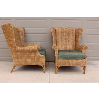 1970s Vintage Henry Link Woven Wicker Wingback Chairs- A Pair Preview