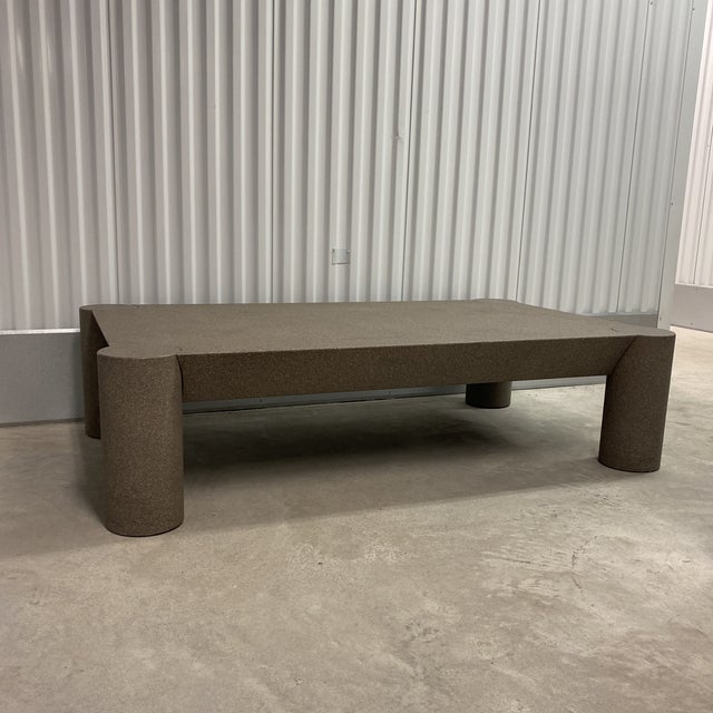 Grey Postmodern Beveled Coffee Table With Thick Column Legs For Sale - Image 12 of 13