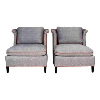 Vintage Wingback Lounge Chairs in Grey With Pink Piping - a Pair For Sale