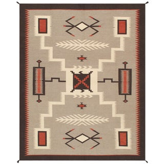 Navajo Style Wool Area Rug - 7′10″ × 9′11″ For Sale