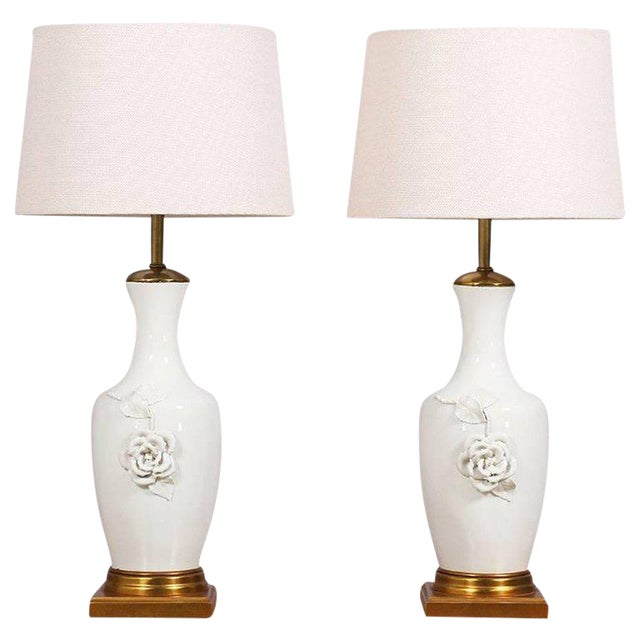 1950s Italian Marbro Blanc De Chine Lamps - a Pair For Sale