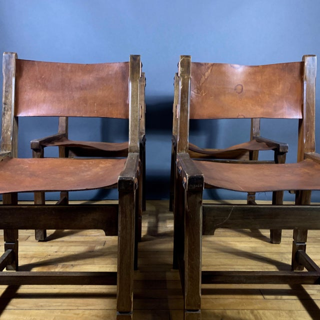 Four French 1940s Saddle Leather & Oak Dining Chairs For Sale - Image 4 of 13