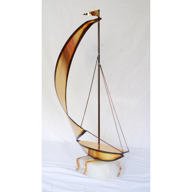 Brutalist Vintage Metal and Onyx Sailboat Tabletop Sculpture For Sale - Image 3 of 5