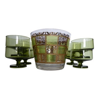 Vintage Culver Gold Green Ice Bucket With Glasses - Set of 9 For Sale