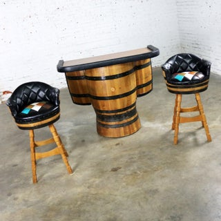 Mid Century Whiskey Barrel Bar and Swivel Bar Stools by Brothers Furniture of Kentucky Preview