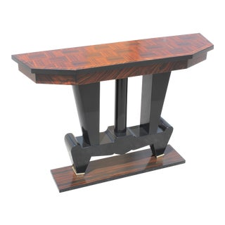 1940s French Art Deco Macassar Ebony Console Table For Sale