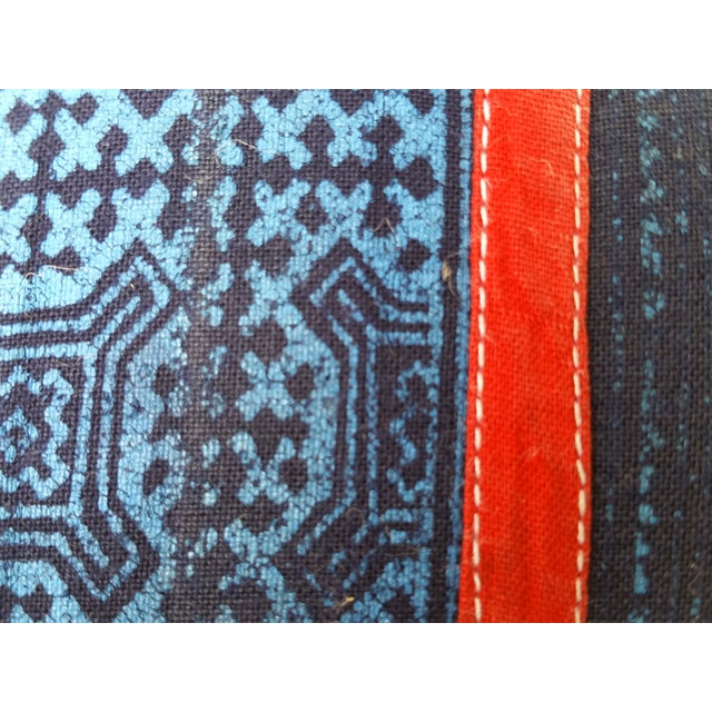 Blue & Red Tribal Appliqued Batik Pillow For Sale - Image 4 of 5