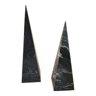 1980s Vintage Modern Black Faux Marble Obelisks - a Pair For Sale