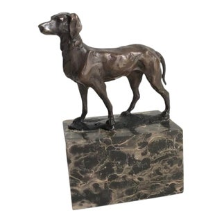 Vintage L. Carvin Bronze Hunting Dog / Hound Sculpture Marble Base For Sale