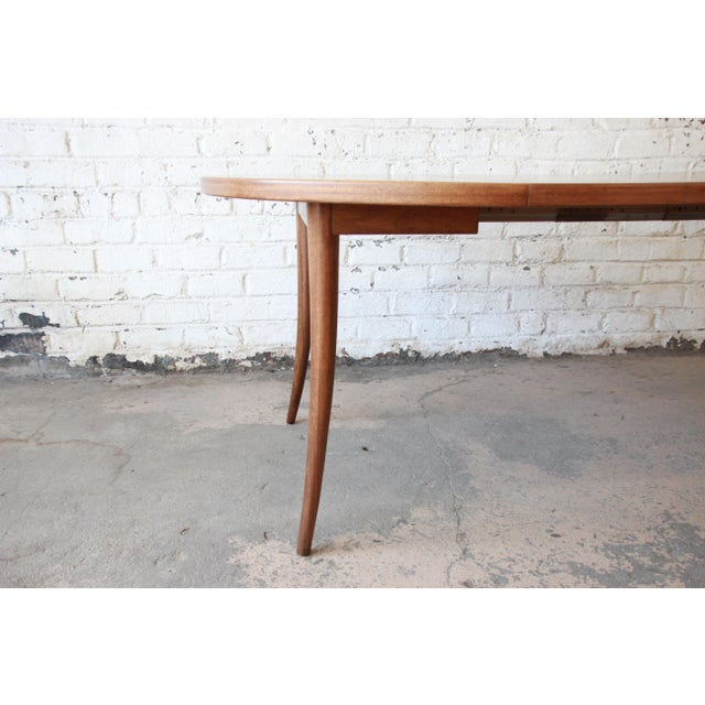 Harvey Probber Mid-Century Modern Mahogany Saber Leg Extension Dining Table For Sale In South Bend - Image 6 of 12