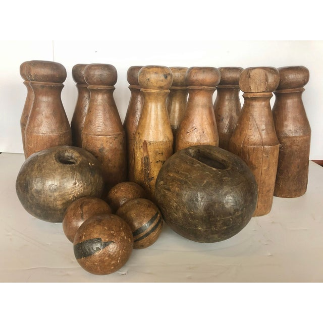 Wood Antique English Skittles/Lawn Bowling Game Set For Sale - Image 7 of 7