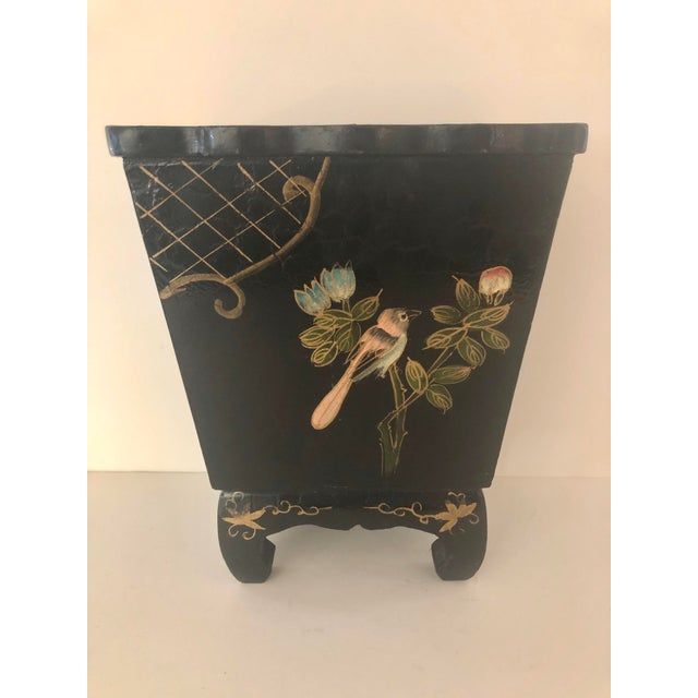 Mid 20th Century Mid 20th Century Black Lacquer Cachepot With Chinoiserie Detail For Sale - Image 5 of 5