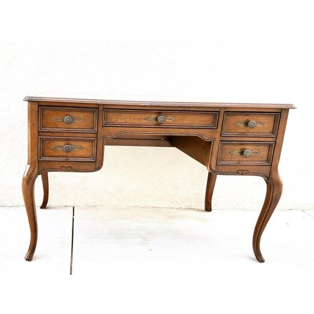 Original Vintage Sligh Furniture Leather Top Writing Desk For Sale - Image 13 of 13