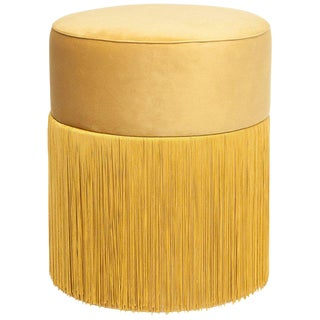 New Pouf Pill Yellow in Velvet Upholstery With Fringes by Houtique For Sale