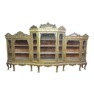 Monumental Antique Chinese Chippendale Gold Gilt China Cabinet