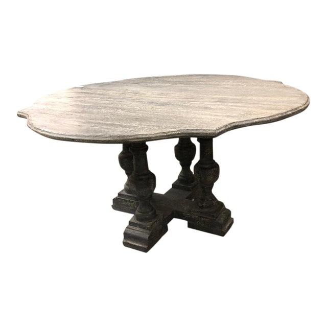 Shabby Chic Gray Washed Pedestal Dining Table For Sale