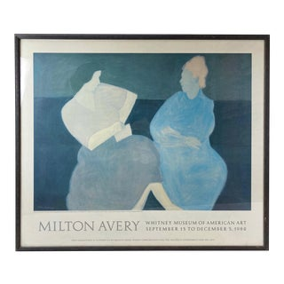 """1982 Limited Edition Whitney Museum Milton Avery """"Conversation"""" Framed Fine Modern Art Lithograph Poster For Sale"""