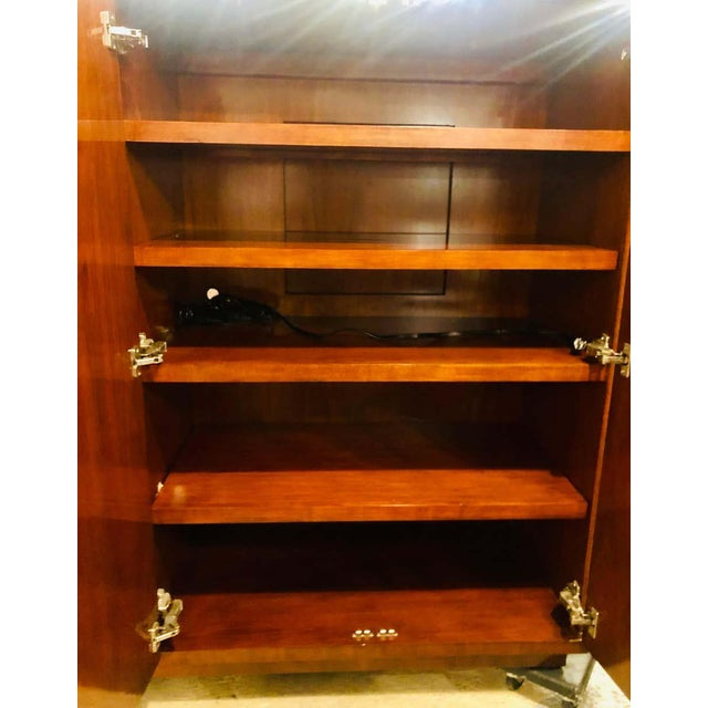 Early 21st Century Walnut Ralph Lauren Modern Hollywood Armoire Linen Press Entertainment Unit For Sale - Image 5 of 13