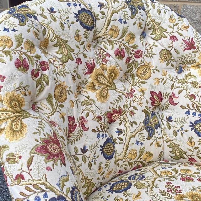 Tufted Floral Slipper Chairs - a Pair For Sale - Image 10 of 13