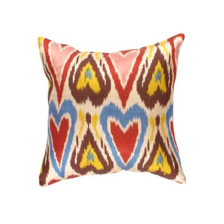 Modern Pasargad Oasis Collection Silk Velvet Ikat Pillow For Sale