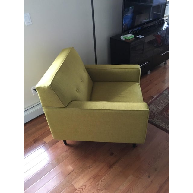 Contemporary Mid-Century Style Ochre Armchair For Sale - Image 3 of 5