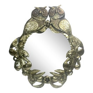Handmade Folk Art Metal Owls Mirror For Sale