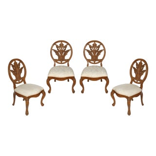 Set of Four Carved Oak Palm Frond Side Chairs For Sale