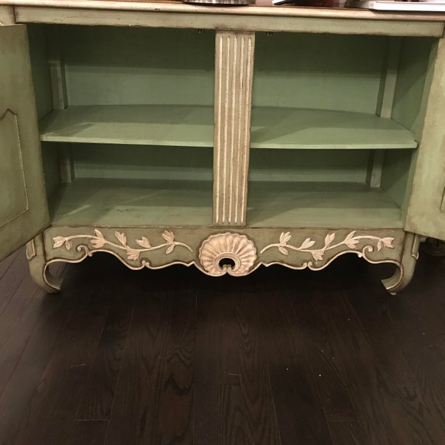 Traditional Light Green With Cream and Gold Sideboard For Sale - Image 9 of 12