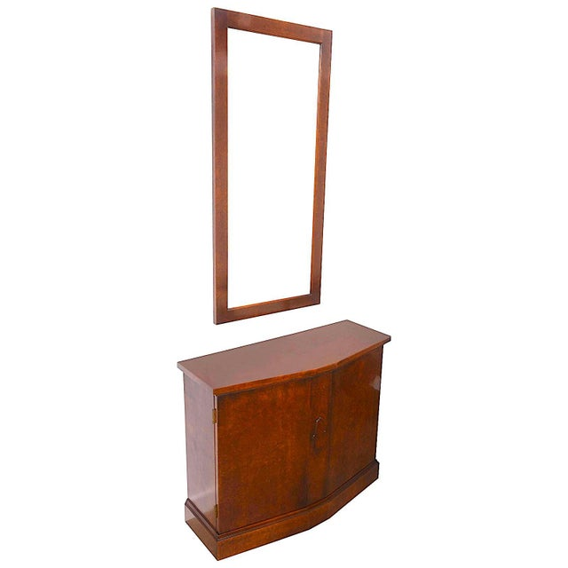 Mid-Century Burlwood Console & Mirror Set For Sale - Image 9 of 10