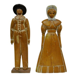 Pine Hand Carved Quaker Couple Figurines - A Pair