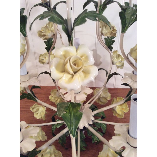 1950s 1950s Italian Toleware Six-Light Yellow Porcelain Rose Chandelier For Sale - Image 5 of 12