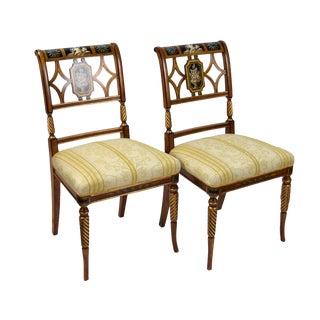Italian Galimberti Lino Hand-Painted Neoclassical Chairs - a Pair For Sale