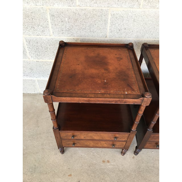 Baker Furniture Leather Top Mahogany 2 Drawer End Tables - a Pair - Image 5 of 11