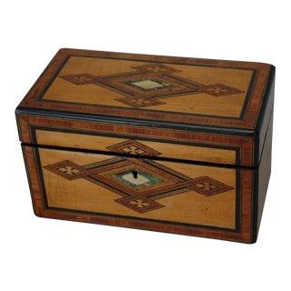19th Century Mid-Century Modern Parquetry Tea Caddy Box For Sale