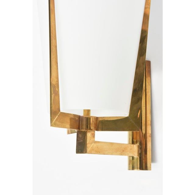 Set of Four Large Stilnovo Brass and Frosted Glass Wall Lights, Italy For Sale In Miami - Image 6 of 9