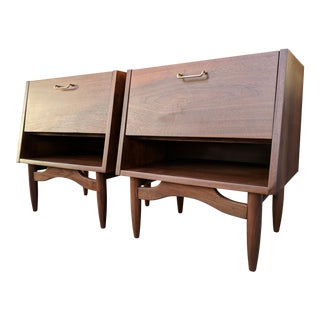 American of Martinsville Mid Century Walnut Slanted Nightstands For Sale