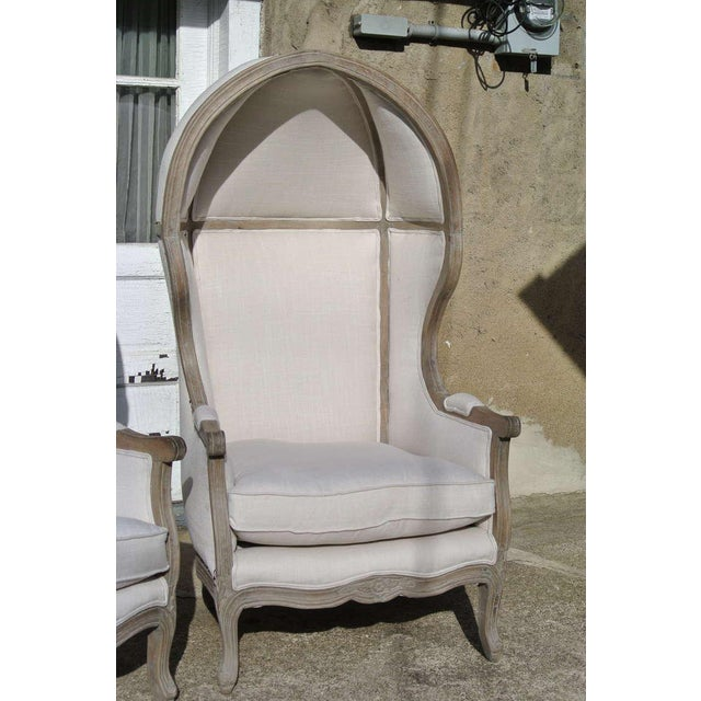 Restoration Hardware Pair of French White Linen Canopy Hood Bishops Chairs For Sale - Image 4 of 10